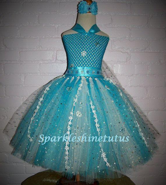 Elsa Frozen Inspired Tutu Dress with matching headband or