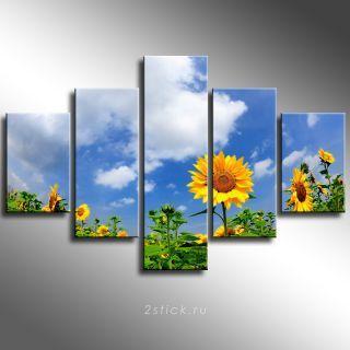 Модульная картина от 2stick.ru Поле подсолнухов на фоне неба