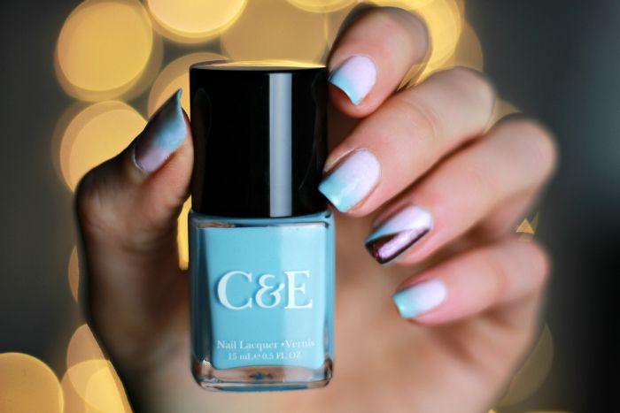 blau pink gradient nailart