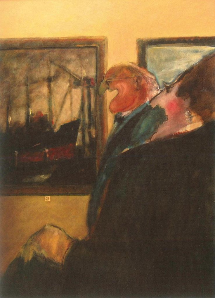 Arthur Dagley - Viewers No. 6 (acrylic on board); a well-to-do couple looks on warmly to a painting of a ship, delighted to find something they can recognise