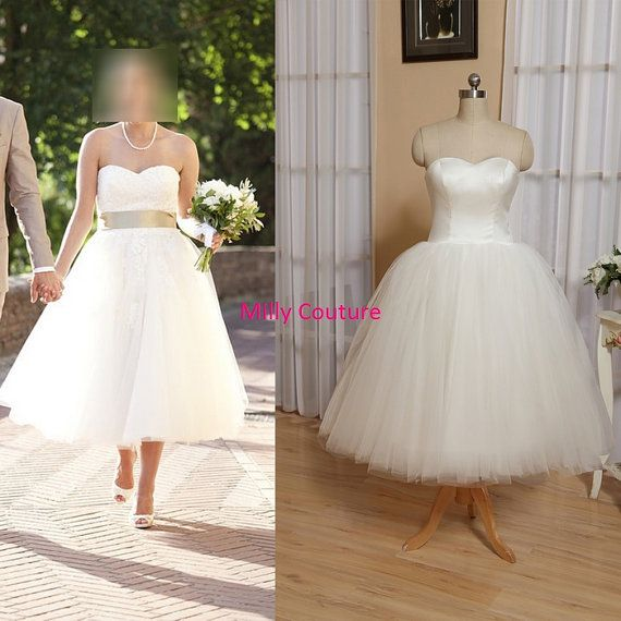 Tutu wedding dress, tulle wedding dress short, 1950 dress 50s wedding, tea length wedding dress sweetheart neck, vintage wedding dress on Etsy, $169.00