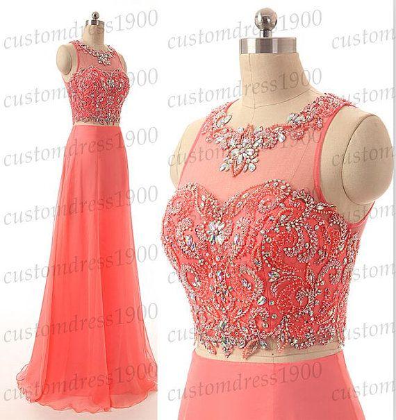 Coral Two Pieces bridesmaid dress,coral wedding party dress,handmade beading chiffon long bridesmaid dress,Two Pieces long coral prom dress