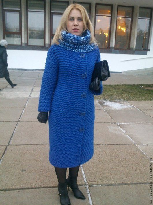 Верхняя одежда ручной работы. Ярмарка Мастеров - ручная работа. Купить Пальто BLUET. Handmade. Тёмно-синий, кардиган вязаный