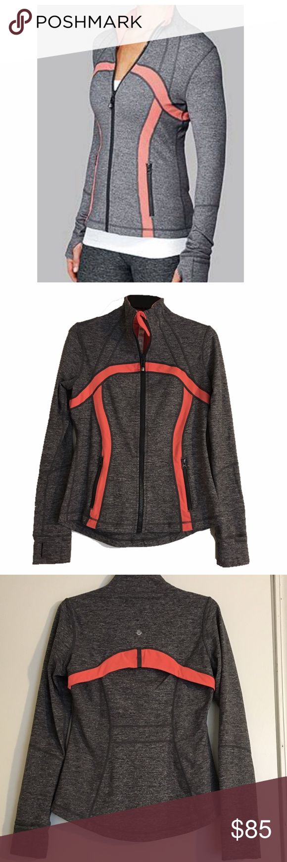 Lululemon define jacket Define jacket in static coal/persimmon. (Gray & coral). Excellent like new condition - only flaw is very minor pilling on lining at neck- shown in close up picture. Outside of jacket in perfect condition. Two zipper pockets, thumbholes, cuffins. 👍bundles lululemon athletica Jackets & Coats