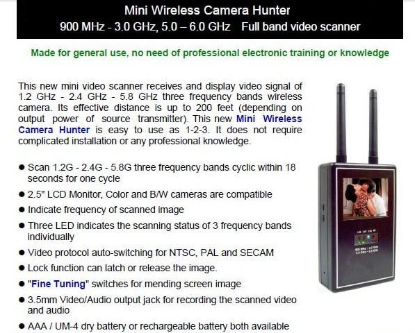 Portable Mini Full Band Wireless Video Camera Hunter / Scanner / Detector  For more details, you may contact Worldwide Technologies, Wireless Camera Scanner supplier in Dehradun, Uttarakhand, India at www.wtpl.co.in