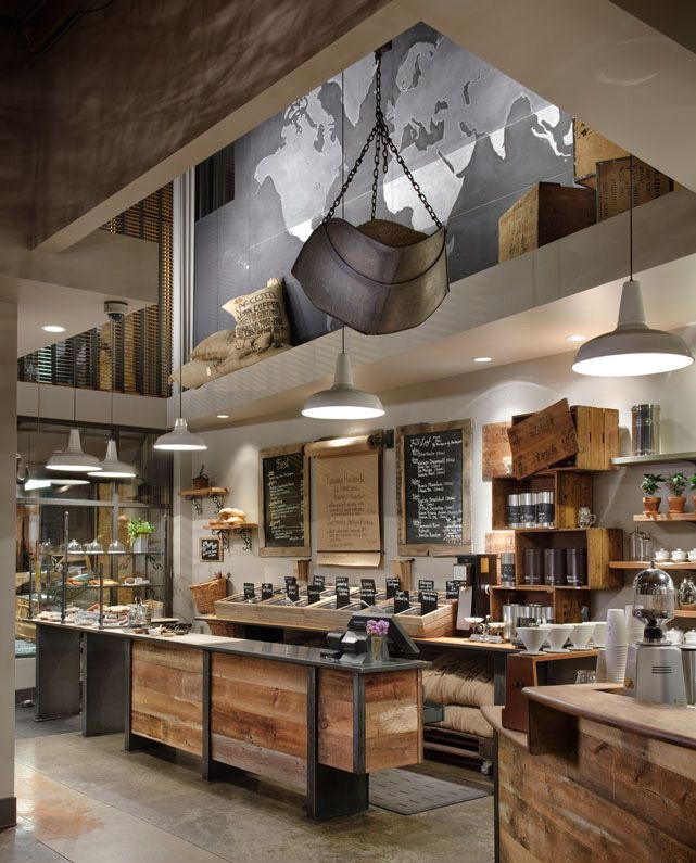 This new Starbucks store is one Hot Cafe with their reclaimed antique barn wood!