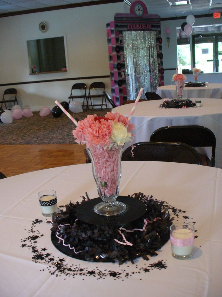 82 best images about sock hop 50 39 s centerpiece on for 50 s theme decoration ideas