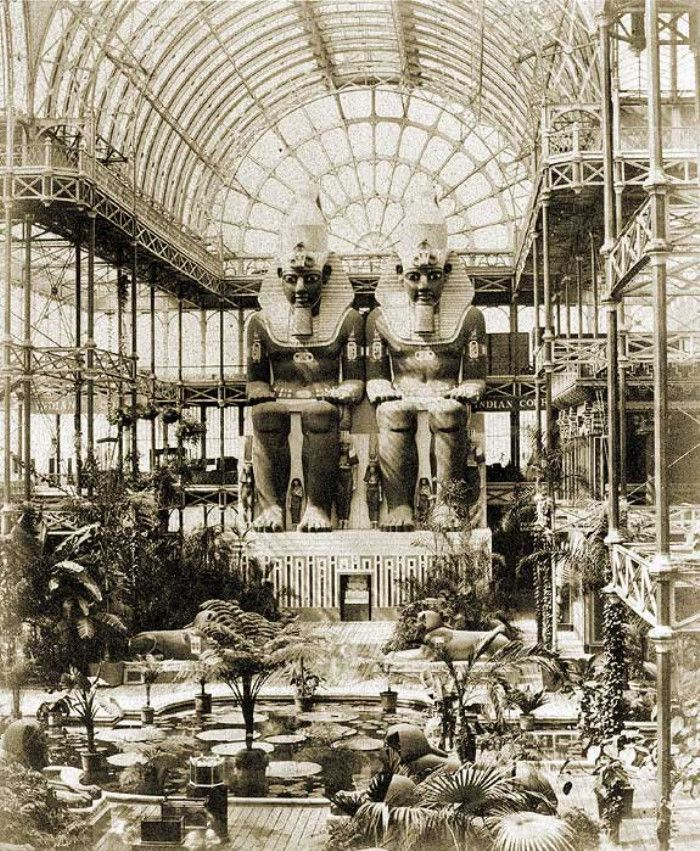Egyptian Court inside the Crystal Palace, London. Early 1900's.