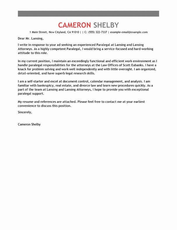 In House Counsel Resume Luxury Best Paralegal Cover Letter