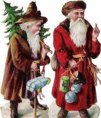 Oblaten Glanzbild scrap cut  Nikolaus  7,8cm santa father XMAS Weihnachtsmann