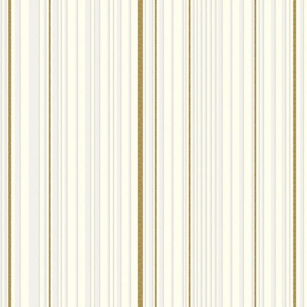 Maestro Stripe Wallpaper In White And Gold By Marcel Wanders For... ($85