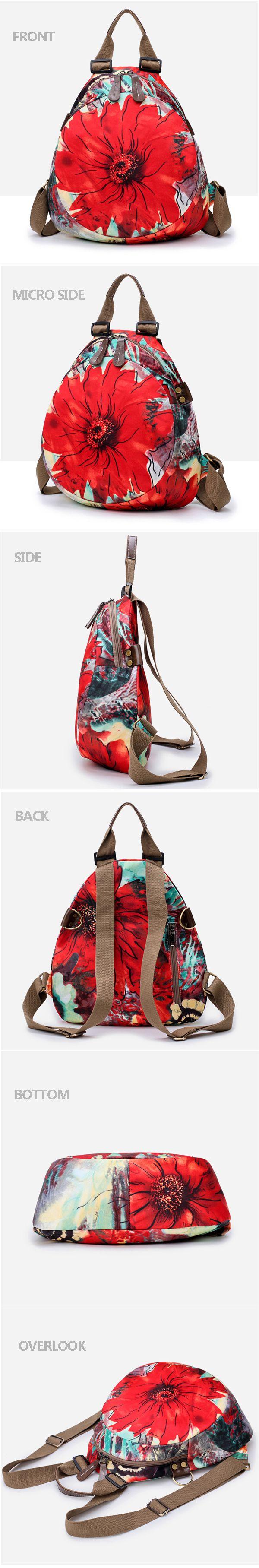 Multifunctional Flower Pattern Waterproof Bag Backpack Shoulder Bags Handbag For Women