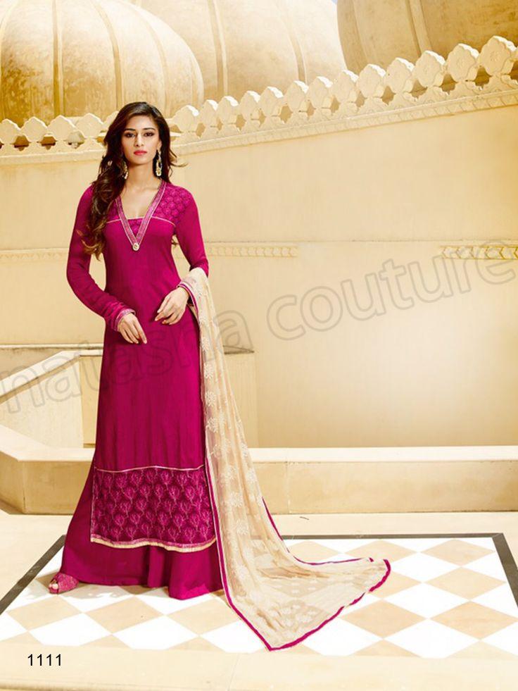 #Designer Staright Suits#Pink Semi Georgette & Tussar Silk Pakistani Palazzo Suit#Indian Wear#Desi Fashion #Natasha Couture#Indian Ethnic Wear# Salwar Kameez#Indian Suit#Pakastani Suits# Palazoo