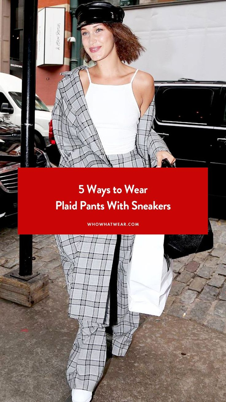 Plaid pants outfit ideas to wear with sneakers / style tips