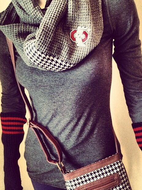 Our Ohio State University branded scarf, arm warmer gloves and ticket bag purse. Some of our items in our collection of premium, officially licensed OSU gear!