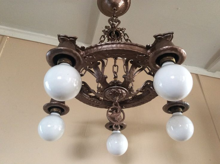 1060 best old lights images on pinterest 1930s antique brass and antique spanish revival chandelier virden dog head marked 1930s mozeypictures Gallery