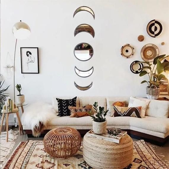 Moon Phase Decorative Wall Mirrors In 2020 Bohemian Wall Decor Mirror Interior Design Room Decor #unique #wall #mirrors #for #living #room