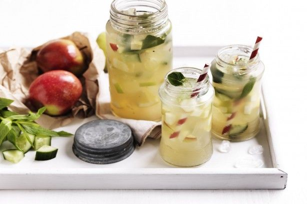 Served in a jug full of ice, this new take on punch contains cloudy apple juice, fresh mint and cucumber.