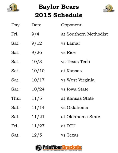 Printable Baylor Bears Football Schedule 2015