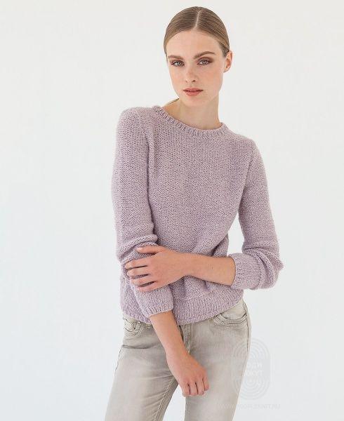 """Люди вяжут: Вяжем: Пуловер. """"Пуловер с круглым вырезом горловины"""" с подробной инструкцией на сайте peopleknit.ru."""