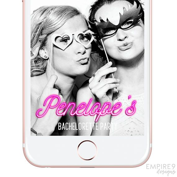 Snapchat Geofilter Bridal Shower, Bachelorette Party, Snapchat Filter Hen's Night, Custom Snapchat Geofilter, Neon Sign, Pink