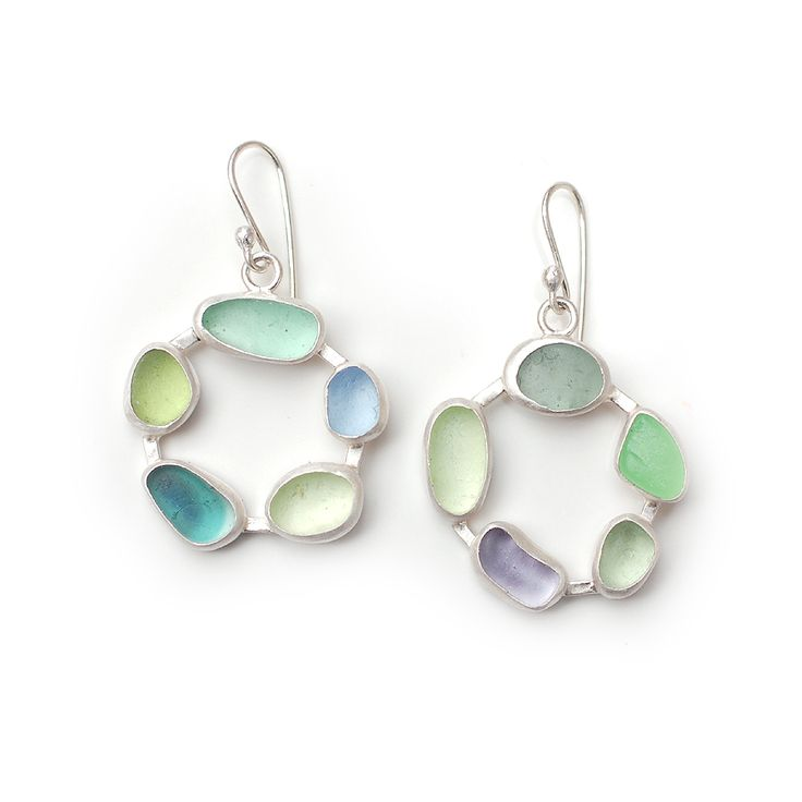 Sea glass and silver earrings by Tania Covo