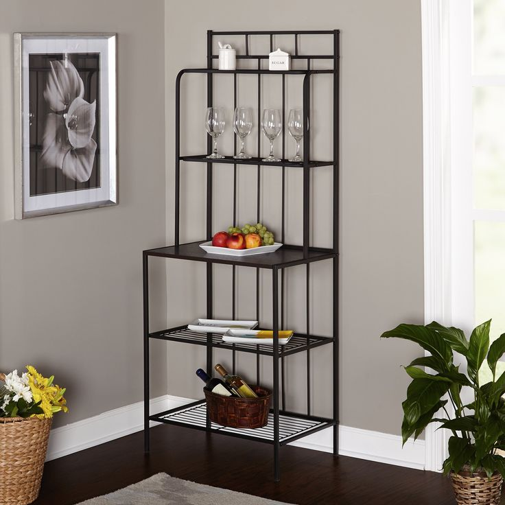 Metal Kitchen Bakers Rack - Indoor Bakers Rack, Black; the Perfect Pantry Rack for Your Kitchen or Dining Area
