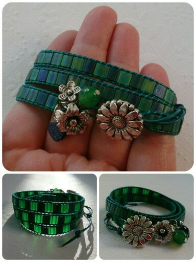 Navy and green leather wrap bracelet.
