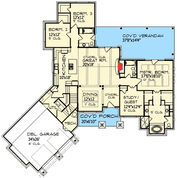 32 best house plans under 2500 sq ft images on pinterest for Attached garage plans with bonus room
