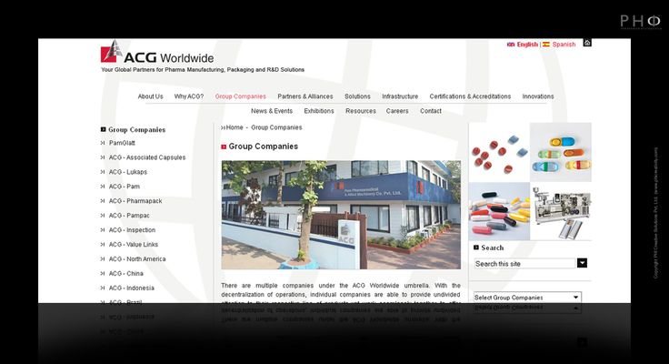 Corporate website for ACG World
