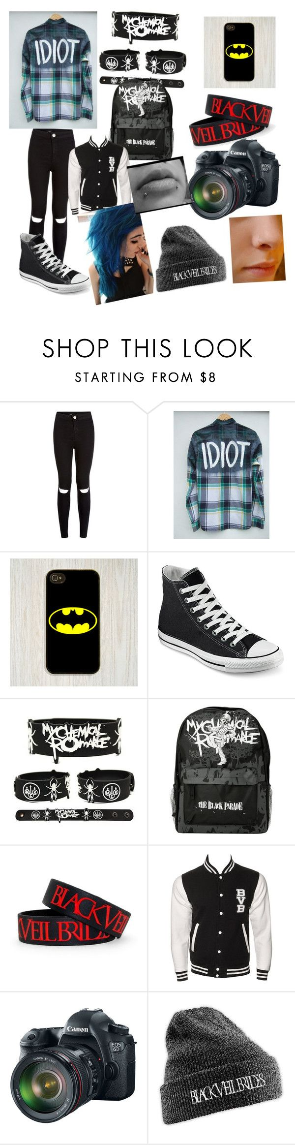 """what i would wear to warped tour"" by mikey-is-a-idiot ❤ liked on Polyvore featuring Samsung, Converse and Eos"