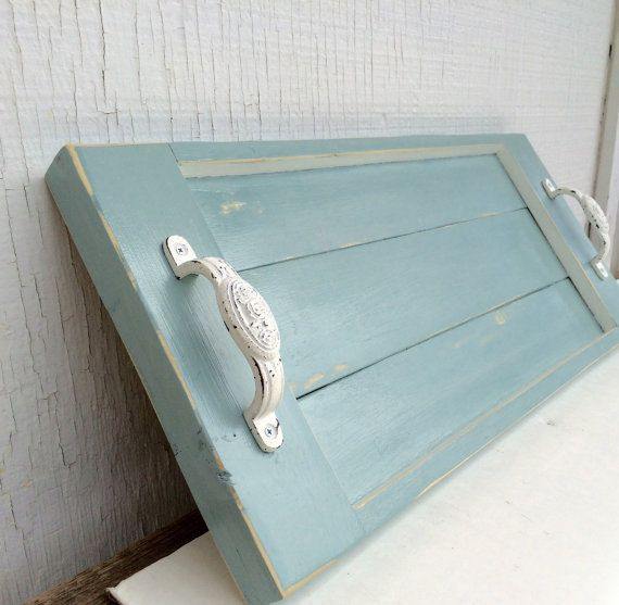Shabby rustic serving tray chalk paint tray by LodgeDecorNMore