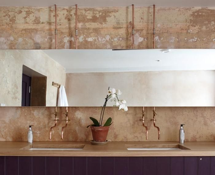 Copper Pipes above a Double Sink, Remodelista