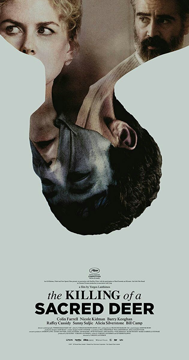 The Killing of a Sacred Deer is a 2017 psychological horror film directed by Yorgos Lanthimos, from a screenplay by Lanthimos and Efthymis Filippou. It stars Colin Farrell, Nicole Kidman, Barry Keoghan, Raffey Cassidy, Sunny Suljic, Alicia Silverstone and Bill Camp. https://en.wikipedia.org/wiki/The_Killing_of_a_Sacred_Deer (fr=https://fr.wikipedia.org/wiki/Mise_%C3%A0_mort_du_cerf_sacr%C3%A9)