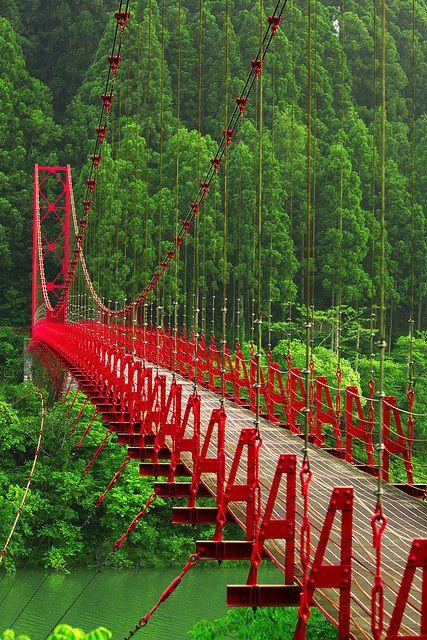 """""""Red Bridge"""" Zao Bridge, Aridagawa, Wakayama, Japan"""