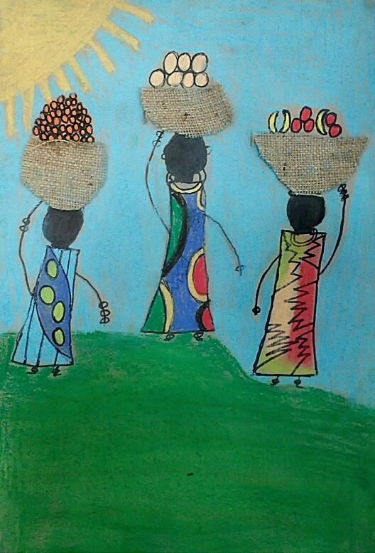Third Grade Art Lesson  3 Class Periods     African Kanga Compositions, Third Grade Lesson     Students were presented with a power point pr...