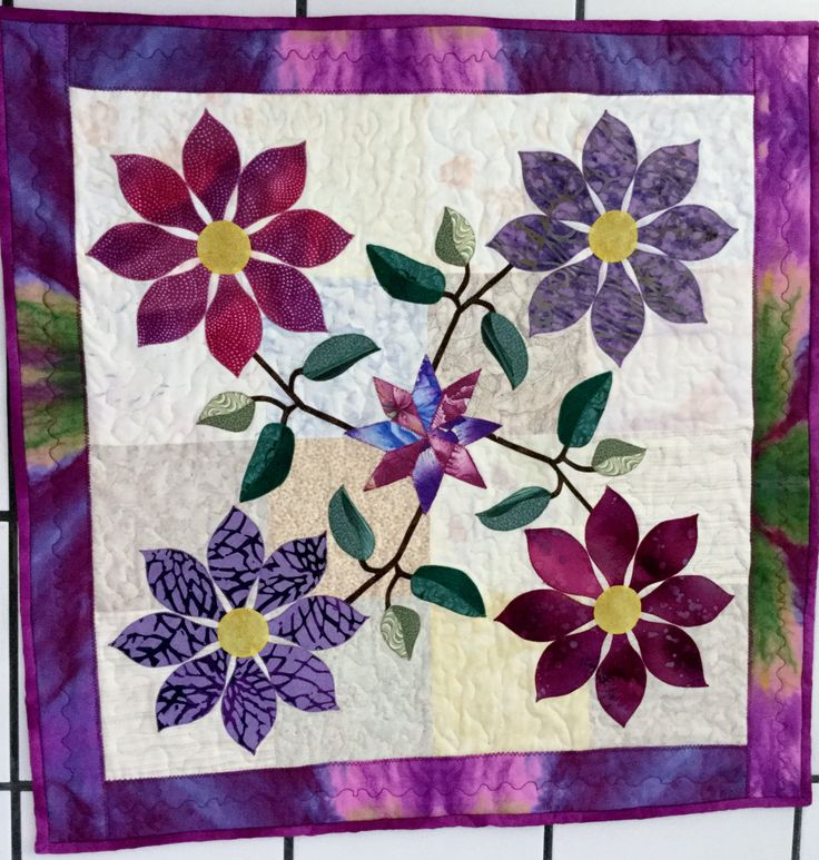 QUILTED, Appliqued Floral,TABLE TOPPER Table  Center Piece, Purples /Fuchsias by QuiltingbyDiamanti on Etsy