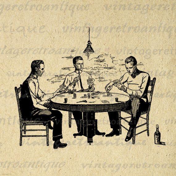Printable Digital Vintage Poker Game Image by VintageRetroAntique