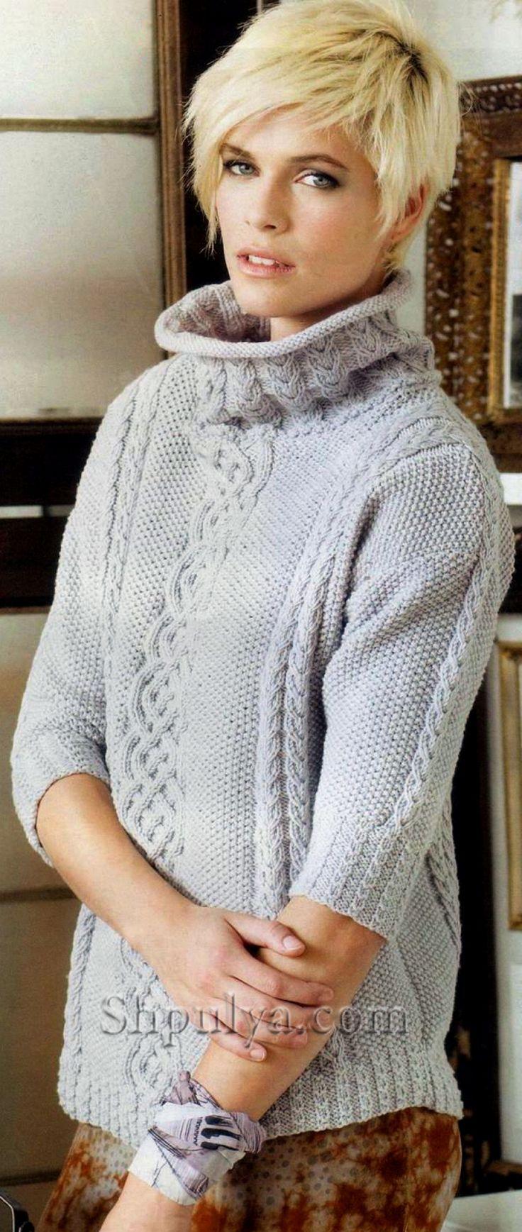 Пуловер с аранами и укороченными рукавами
