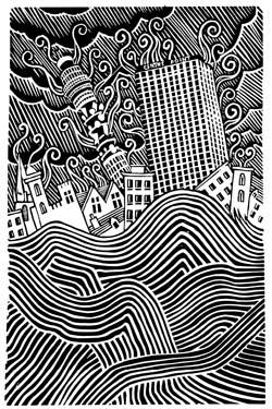 Cover artist Stanley Donwood creates apocalyptic visions of London for Radiohead album covers.  linocut?