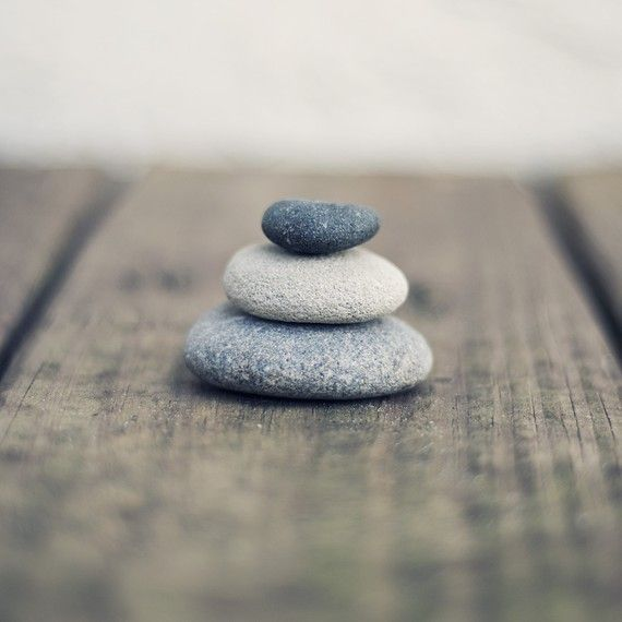 Balanced Beach Stones - Rocks, Peaceful, Stacked - Fine Art Photograph