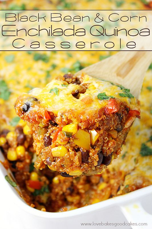 This Black Bean & Corn Enchilada Quinoa Casserole is a hearty and stick-to-your-ribs good meal! It has all of the flavors you love in traditional Mexican food, but is much healthier with the addition of quinoa and plenty of veggies! Even quinoa haters will become quinoa lovers with this casserole!