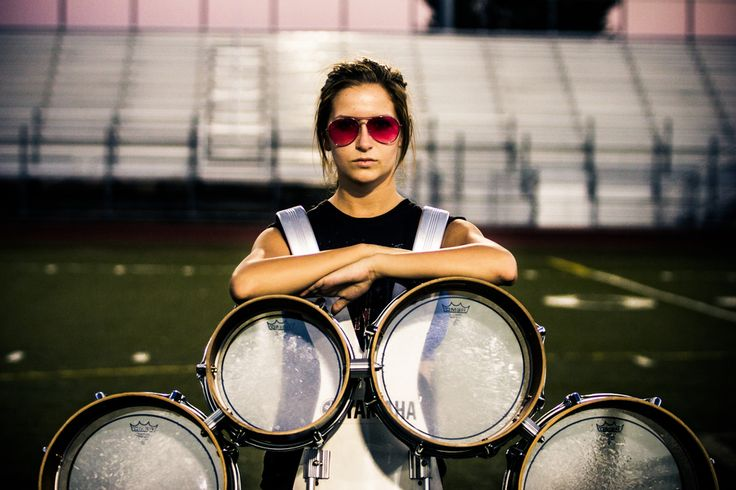 I love everything about this - reminds me of Julia from Confessions of a Teenage Band Geek.  #tenors #drumline #chickswithsticks