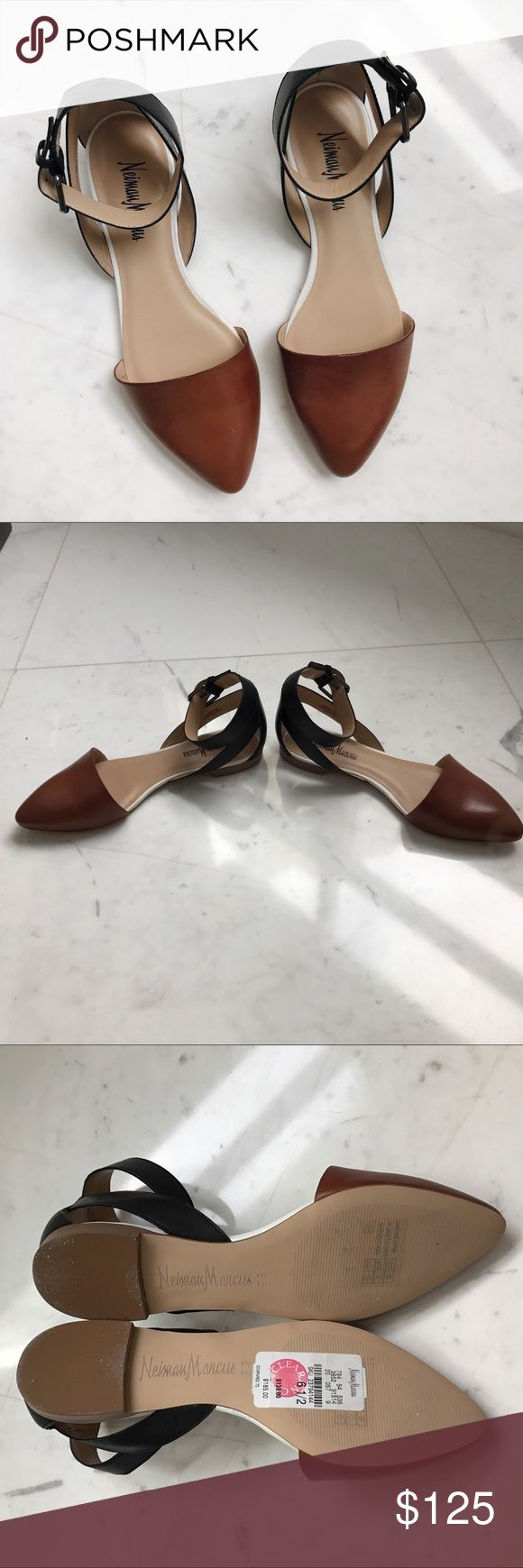 • Neiman Marcus Flats • Brand new brown/black flats. 6 1/2. Comes with box. Neiman Marcus Shoes Flats & Loafers