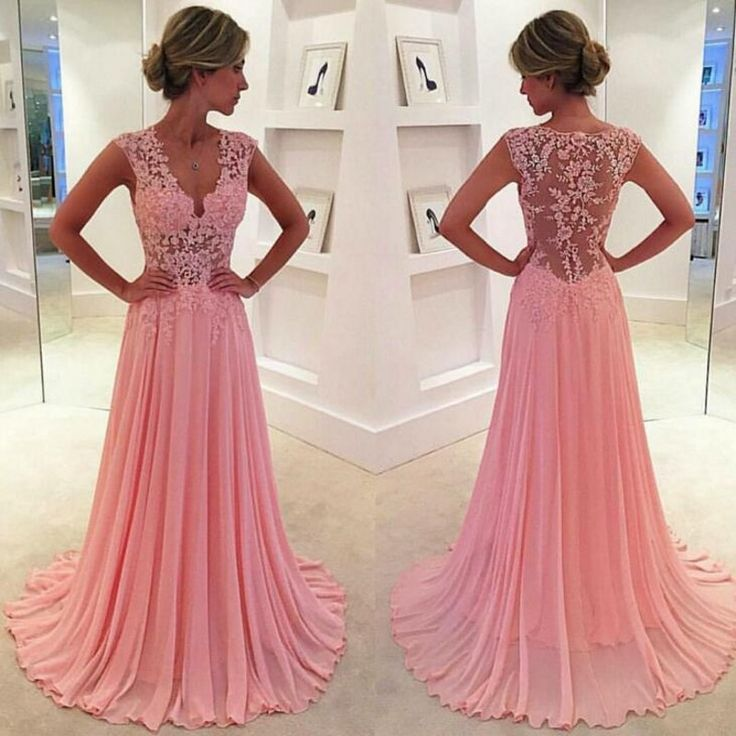 Long Sleeveless Applique Lace Pink Chiffon Prom Dress