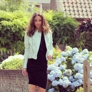 Ralph Lauren Black Label blue leather jacket and black H&M Trend dress