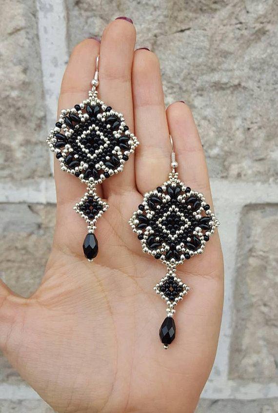 e5b56289c Earrings Mosaic- beading pattern | Earring | Beading patterns ...