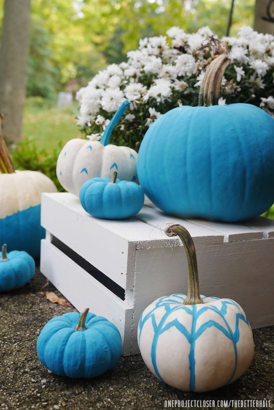 Decorate for fall with teal pumpkins! The Teal Pumpkin Project