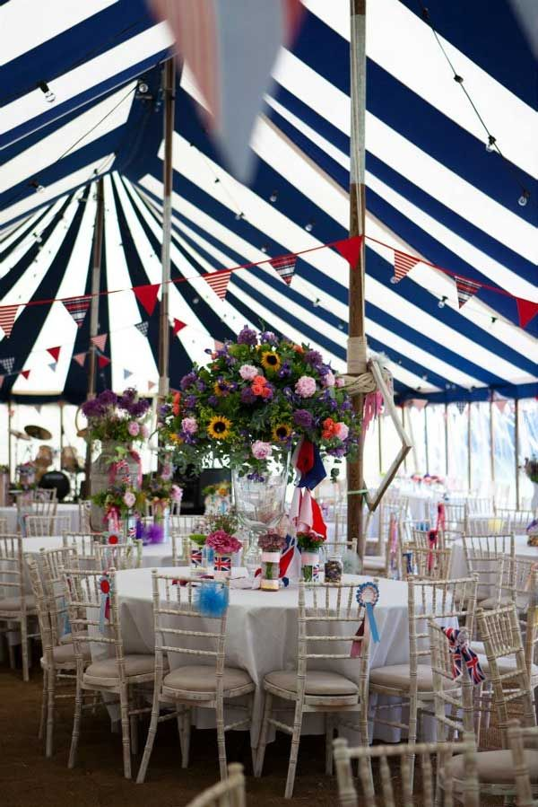 striped wedding theme | in a traditional striped marque to create a very British summer theme ...