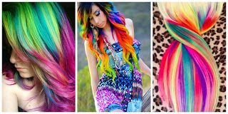 Rainbow Hair Style #hairstyle #women #fashion #moda #mujeres